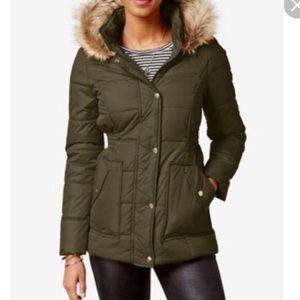Krush Faux Fur Trim Hooded Puffer Coat